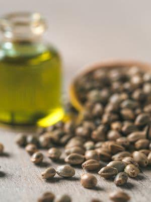 olej konopny i ziarna konopi siewnych