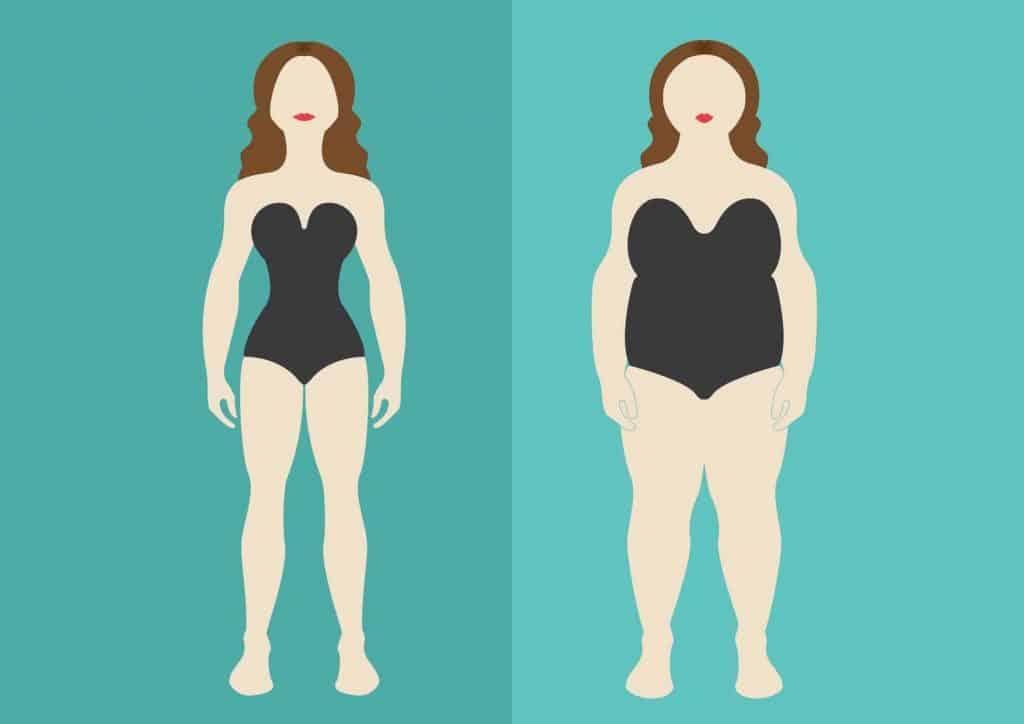 rysunek szczupłej i otyłej kobiety