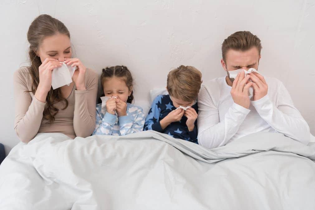 przeziębiona rodzina