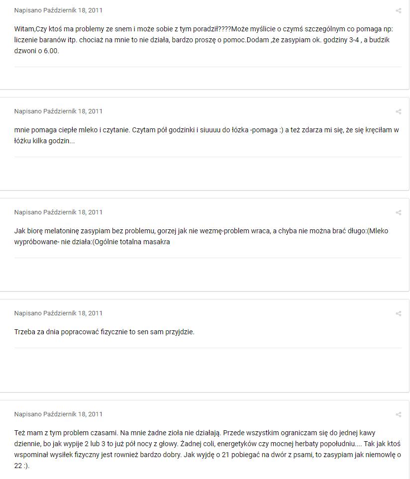 domowe sposoby na bezsenność forum